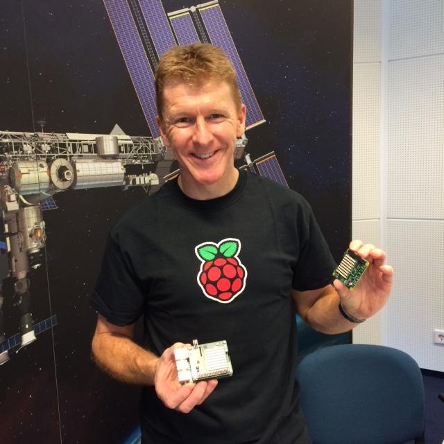Tim Peake holds a Raspberry Pi
