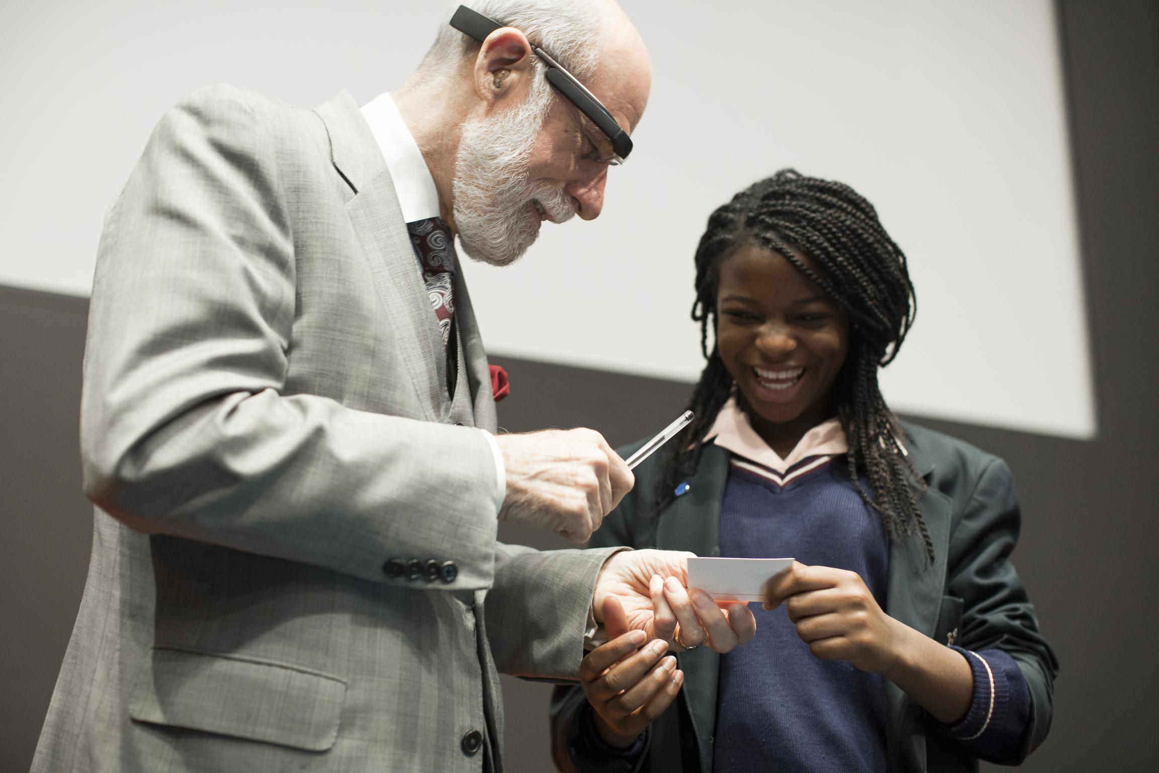 QEPrize winner, Vint Cerf at a schools' event encouraging young people to think about engineering