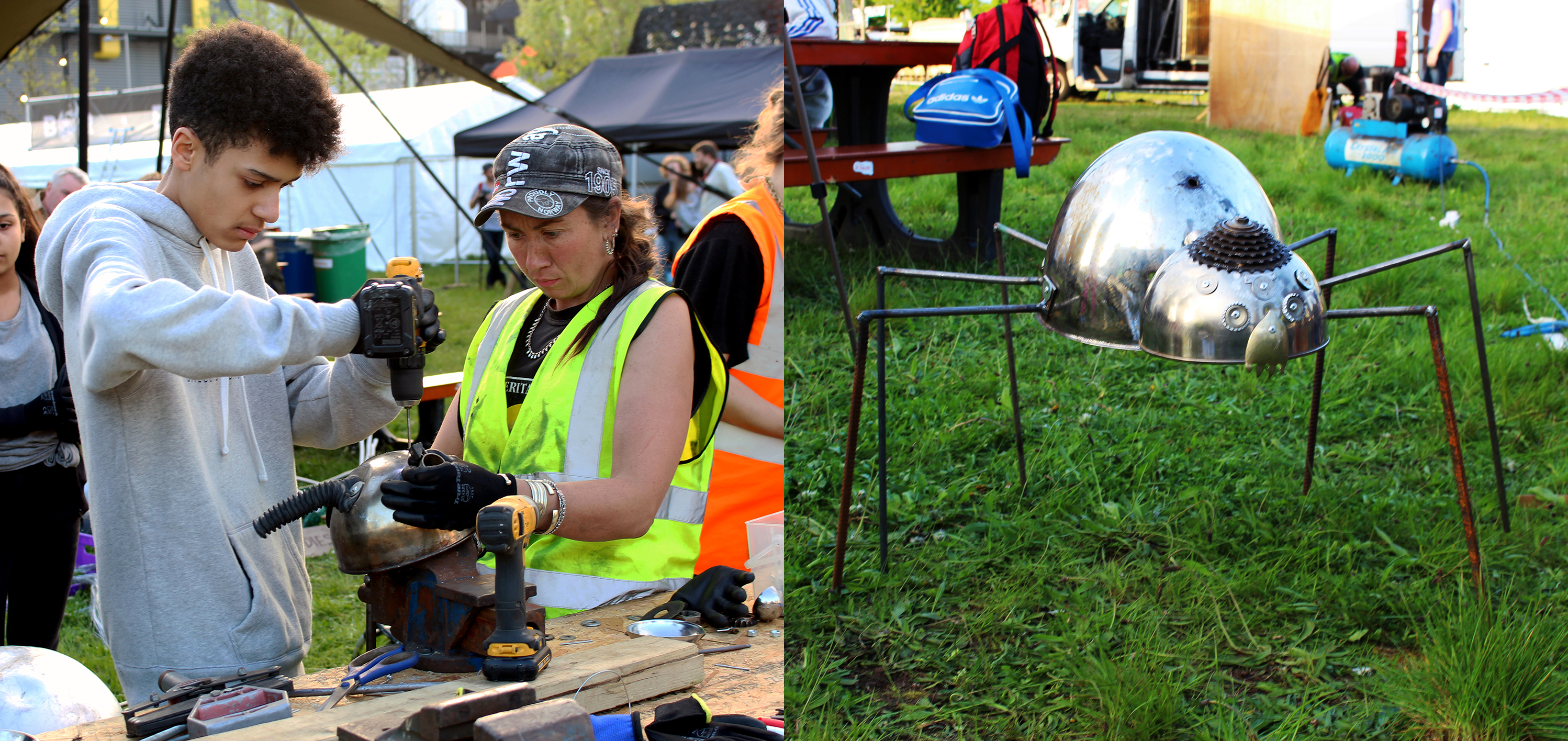 Two images combined. The left image is of a volunteer in high visibility clothes assisting a participant to drill in a new attachment to the insect. The right is of a metal insect created by participants with six legs and eyes standing on grass.