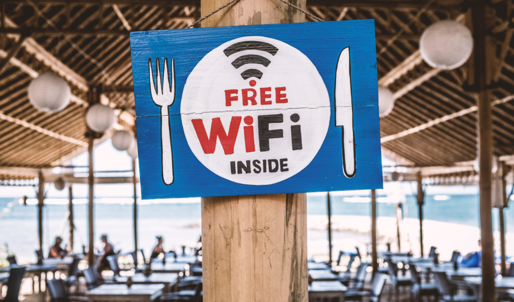 Image of a restaurant advertising free Wi-Fi