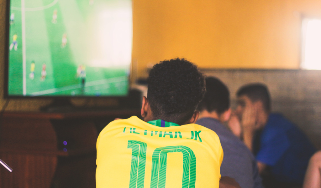 Image of a Football fan watching a match