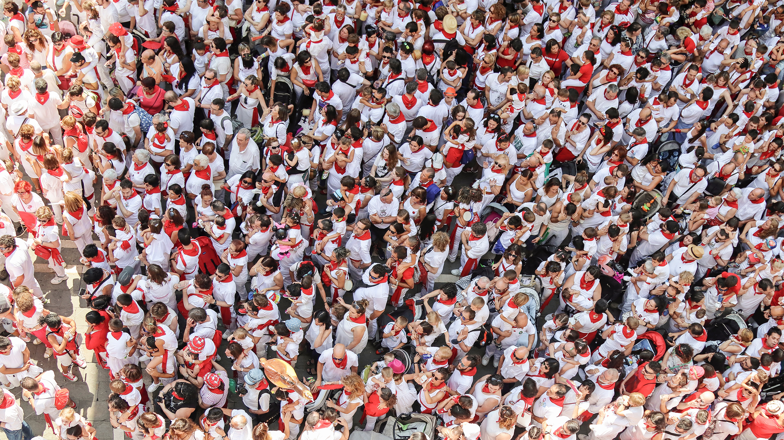 Image of a crowd taken from above.
