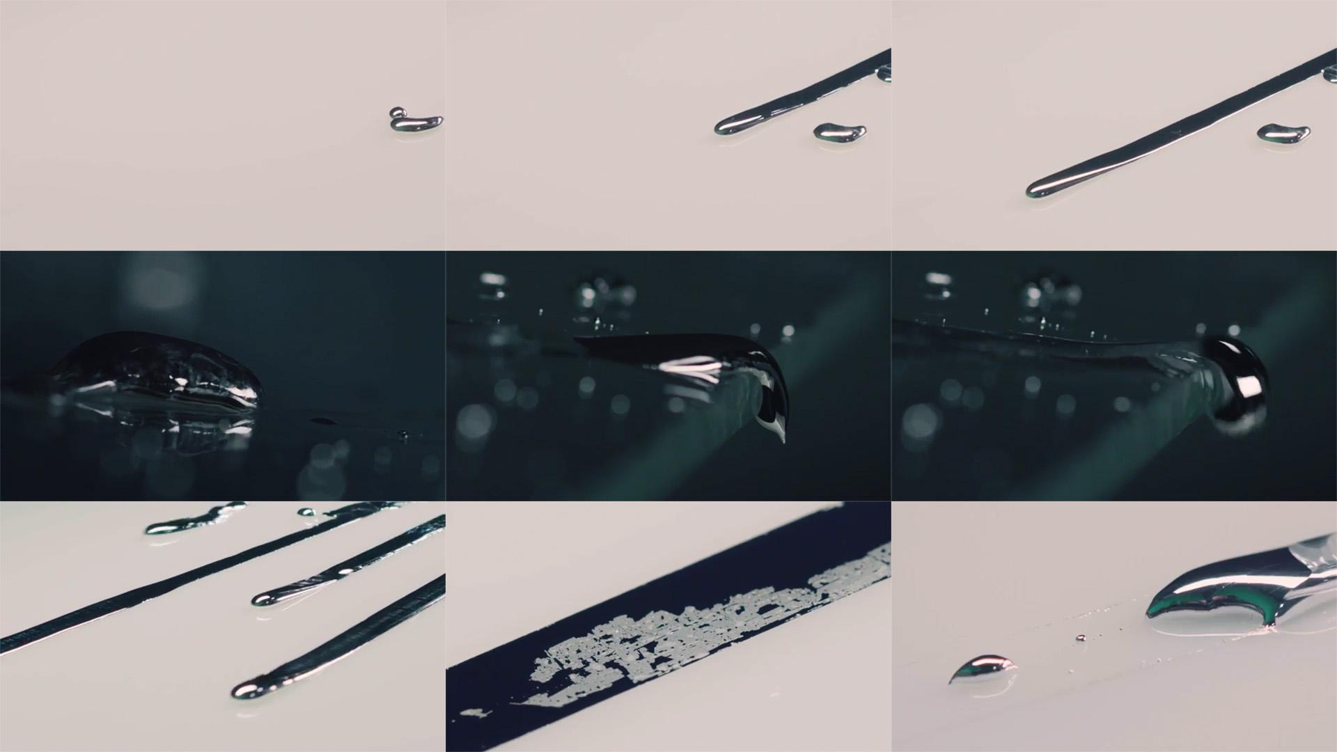 Image combining nine photos of liquid metals running across a surface.