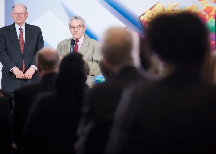 Bob Kahn and Louis Pouzin at the 2013 QE Prize winner announcement