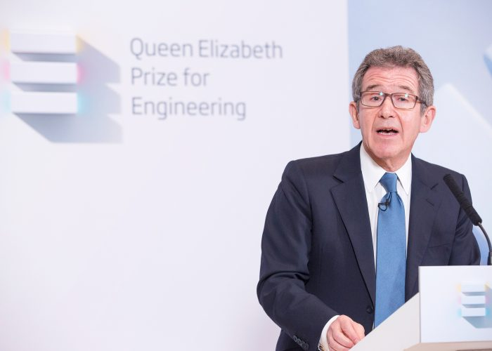 Lord Browne announcing the 2013 QE Prize winners