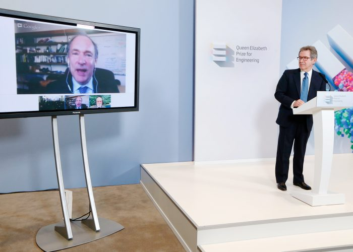 Sir Tim Berners Lee on video link at the 2013 QE Prize winner announcement