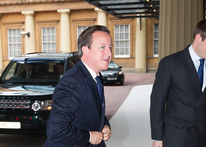 David Cameron arriving at Buckingham Palace for the 2013 QEPrize presentation