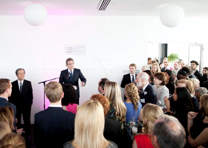 Lord Browne welcomes guests to the 2013 QE Prize celebration at the Tate Modern