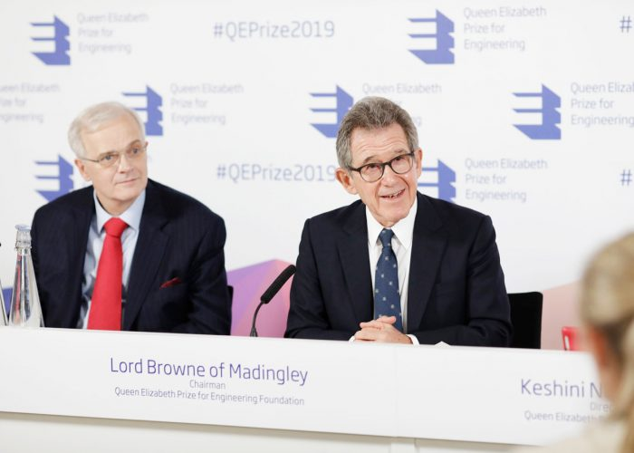 Sir Christopher Snowden and Lord Browne at the 2019 QEPrize Winner Announcement