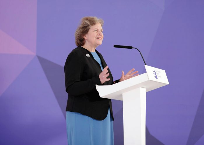 Dame Ann Dowling speaking at the 2019 QEPrize Winner Announcement