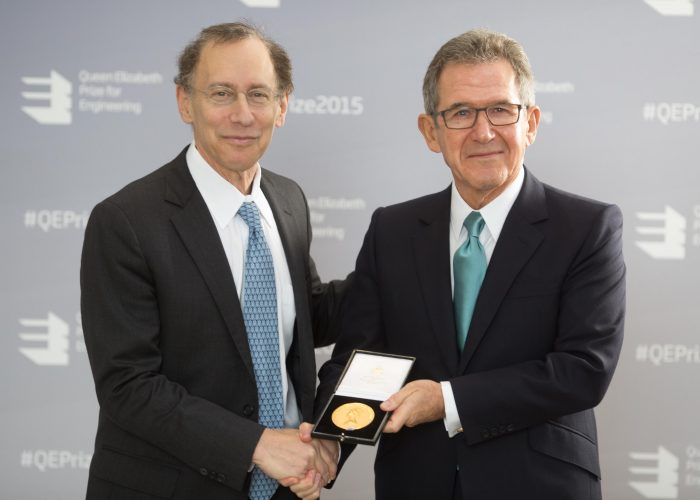 Dr Robert Langer presented with his medal by Lord Browne 2015 QE Prize Presentation