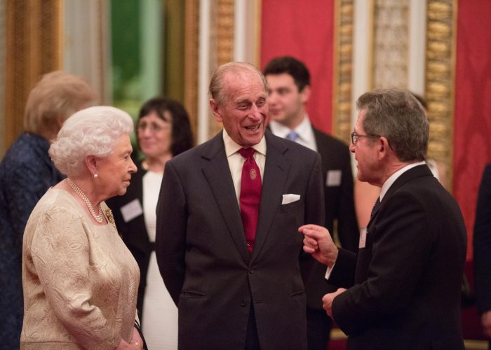 HM The Queen HRH The Duke of Edinburgh and Lord Browne at the 2015 QEPrize Presentation