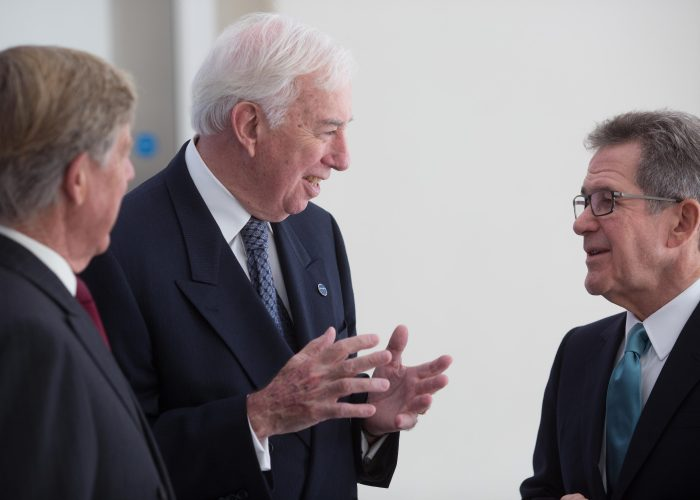 Lord Alec Broers Dr Dan Mote and Lord Browne at the 2015 QEPrize Presentation