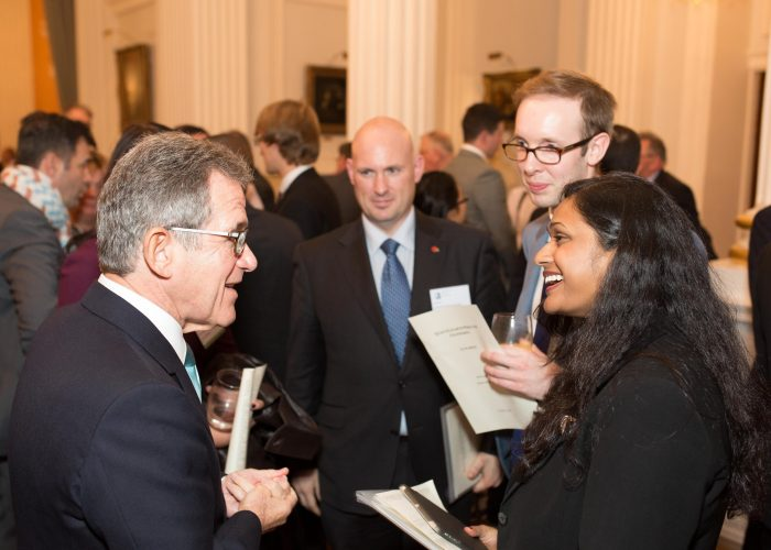 Lord Browne meets guests at the 2015 QEPrize Presentation