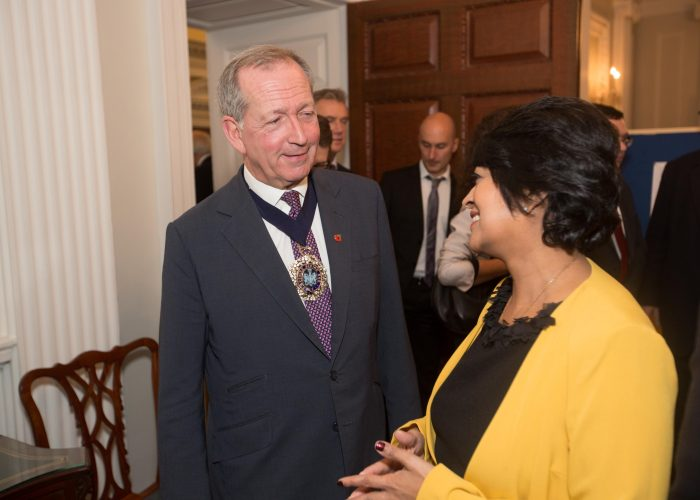 The Lord Mayor of the City of London and Keshini Navaratnam, 2015 QEPrize Presentation