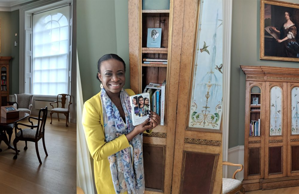 Dr Ozak Esu poses for a photo at the Women's Library at Compton Verney