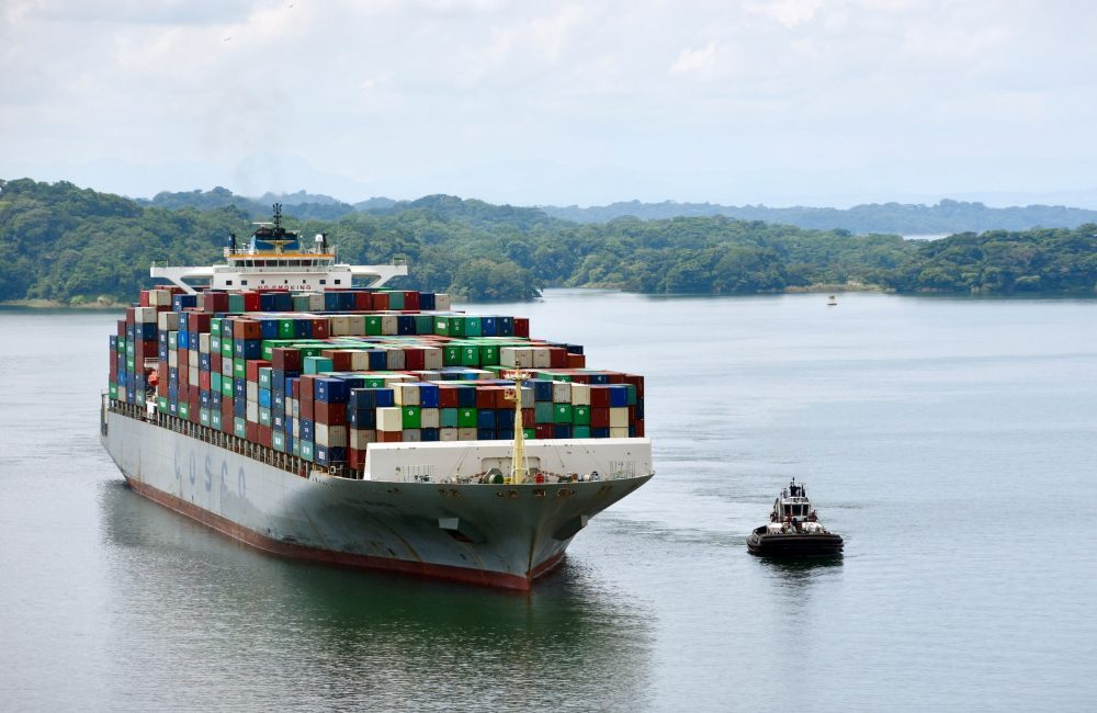A large shipping vessel on the Panama Canal next to a smaller vessel. There are trees rolling out into the distance.